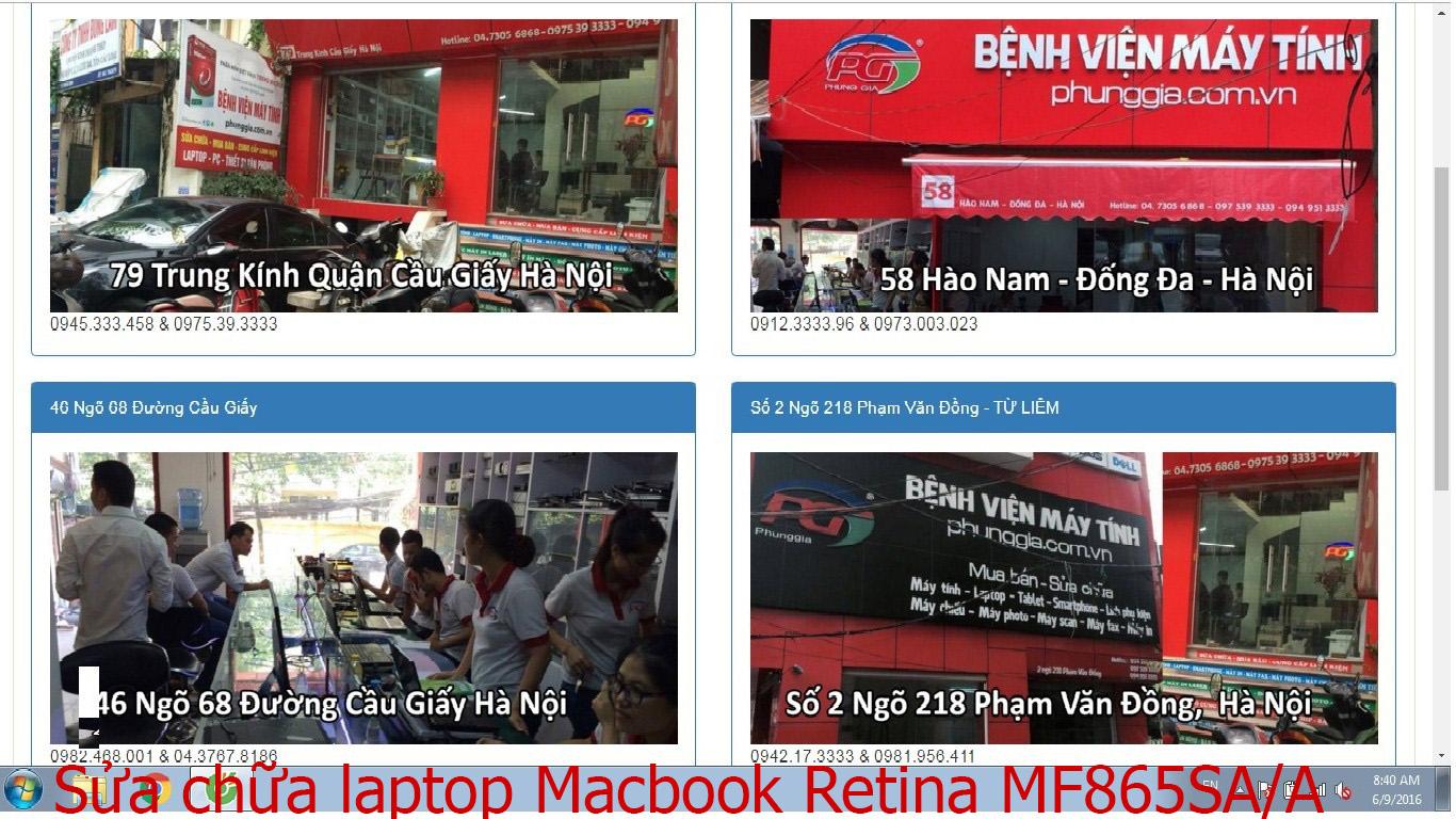 sửa chữa laptop Macbook Retina MF865SA/A, MJY32, MK4M2, MK4N2X/A