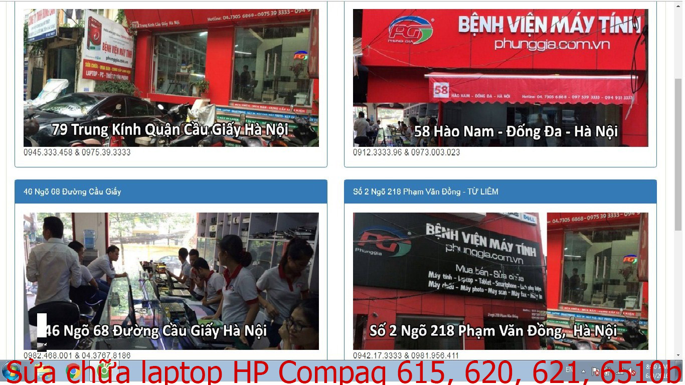 sửa chữa laptop HP Compaq 615, 620, 621, 6510b